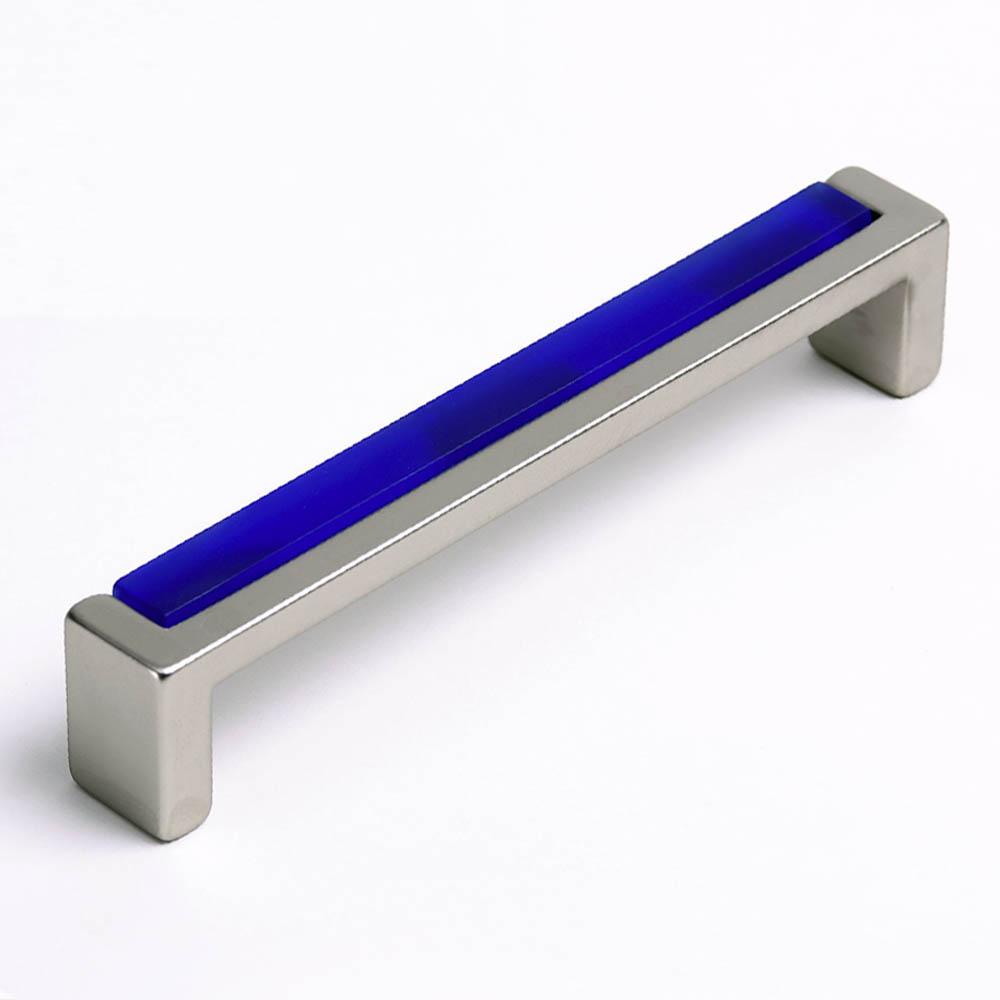 Möbelgriff mit Glas dunkel blau 136mm