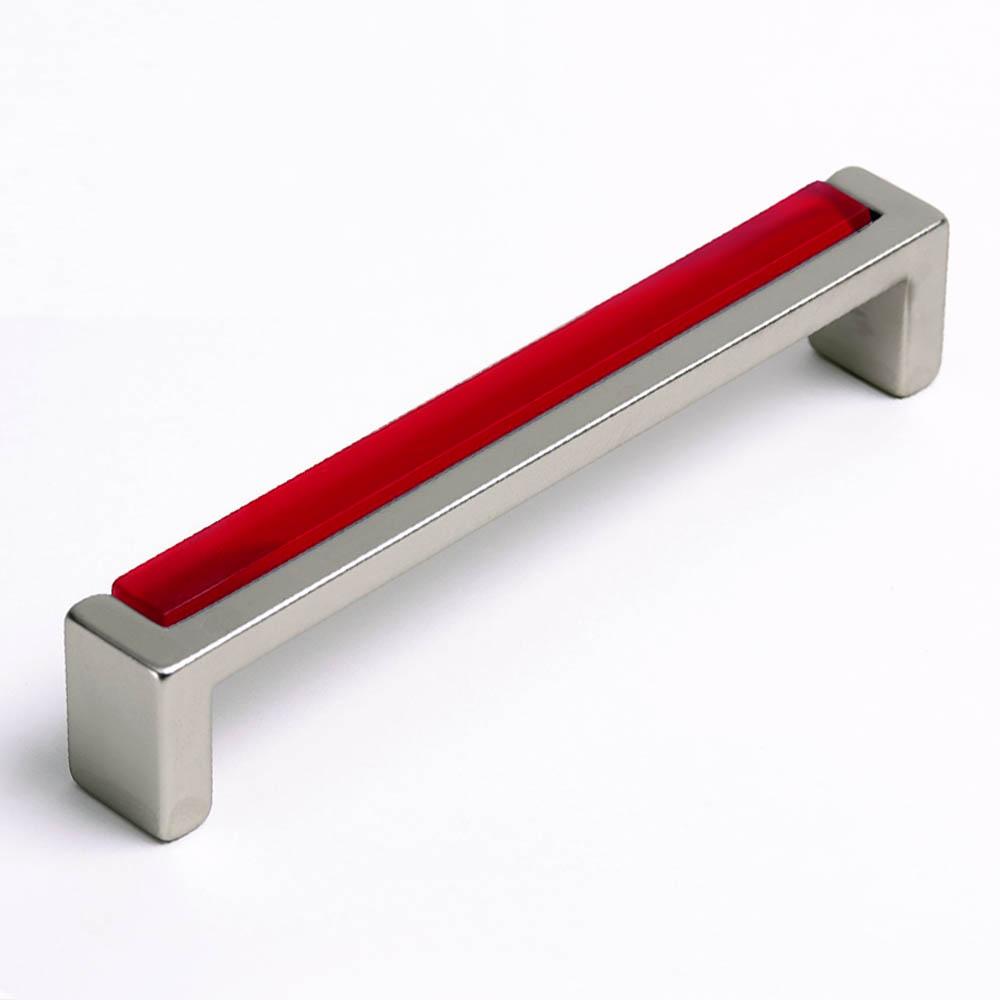 Möbelgriff mit Glas rot 136mm