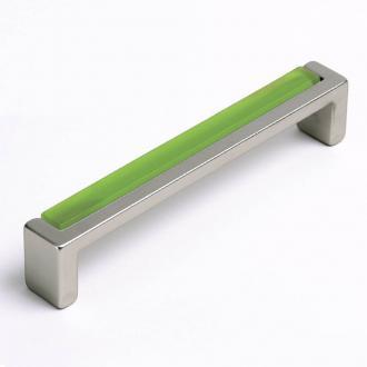 Möbelgriff mit Glas hell grün 136mm