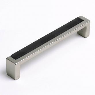 Möbelgriff mit Glas schwarz 136mm
