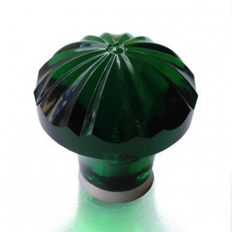 Möbelknopf smaragd grün 36mm gerippt
