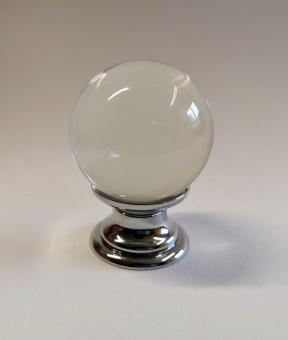 Möbelknopf kristall klar Kugel 25mm