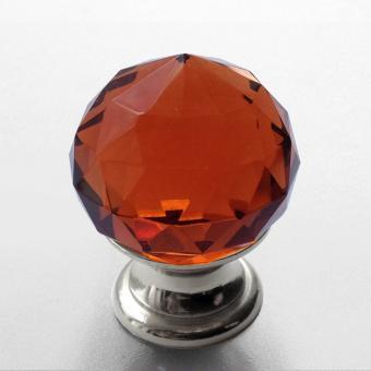 Möbelknopf Kristall bernstein Chrom 25mm