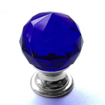 Möbelknopf Kristall blau Chrom 30mm