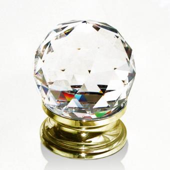 Möbelknopf Kristall Messing 40mm